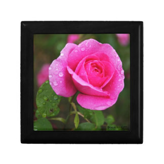 Pink Rose and Dew Drops Trinket Boxes