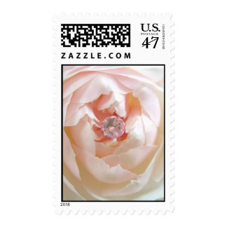 Pink rose and diamond postage