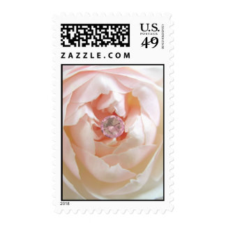 Pink rose and diamond postage stamps