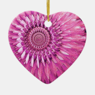 PINK Rose and Feather Flower Petal Fantasy Ceramic Ornament
