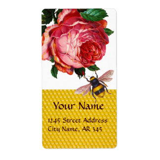 PINK ROSE AND HONEY BEE ,BEEKEEPER LABEL