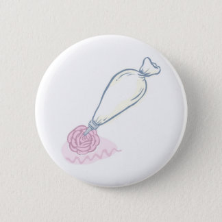 Pink Rose and Pastry Bag Button
