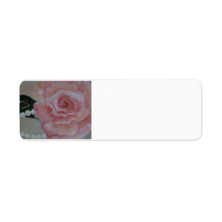 pink rose and pearl painting by  Gwen Billips Custom Return Address Label