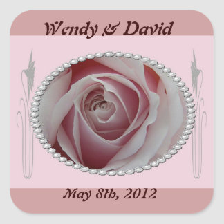 Pink Rose and Pearls Save the Date Design Square Sticker