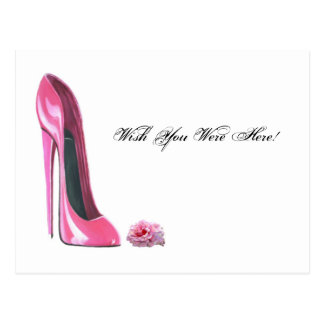 Pink Rose and Pink Stiletto Shoe Postcard