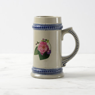 Pink Rose and Purple Morning Glories Coffee Mugs