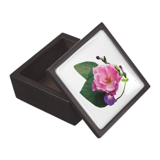 Pink Rose and Purple Morning Glories Premium Keepsake Box