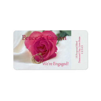 pink rose and rings engagement announcement label