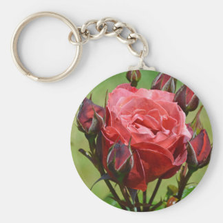 Pink rose and rosebuds keychain