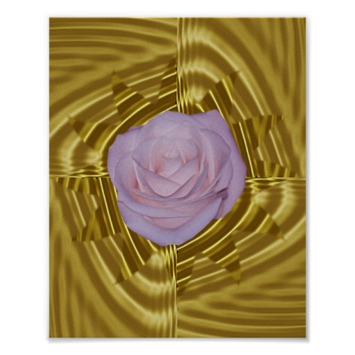 Pink rose and sacred geometry poster