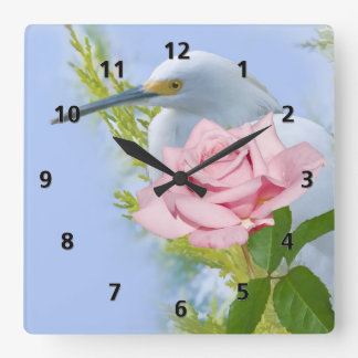 Pink Rose and Snowy Egret Bird Square Wall Clock