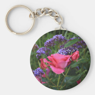 Pink rose and statice in garden keychain