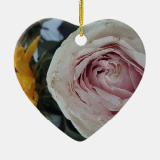 pink rose and sunflower pr.1 Double-Sided heart ceramic christmas ornament