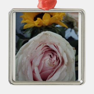 pink rose and sunflower square metal christmas ornament