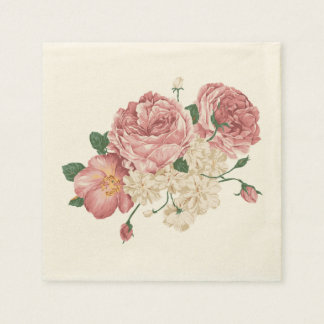 Pink Rose And White Floral Napkins