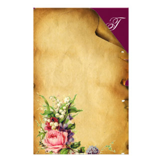 PINK ROSE AND WHITE FLOWERS FLORAL PARCHMENT STATIONERY