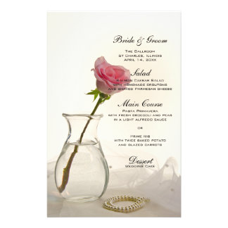 Pink Rose and White Pearls Wedding Menu Stationery