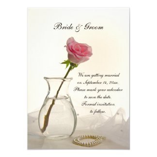 Pink Rose and White Pearls Wedding Save the Date Card