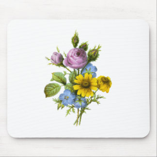 Pink Rose and Yellow Chrysanthemum Redoute Bouquet Mouse Pad