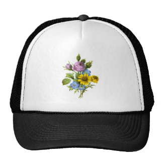 Pink Rose and Yellow Chrysanthemum Redoute Bouquet Trucker Hat