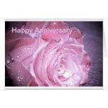 Pink Rose Anniversary Greeting Card