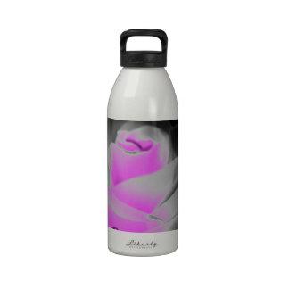 Pink Rose Art Water Bottle