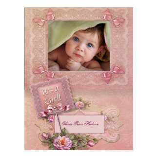 Pink Rose Baby Girl Photo Birth Postcards