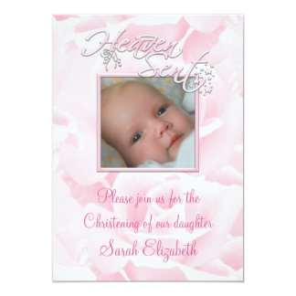 Pink Rose Baby Girl Photo Christening 5x7 Paper Invitation Card