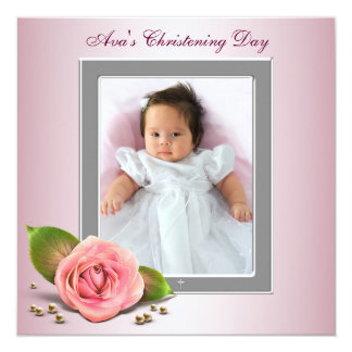 "Pink Rose Baby Girl Photo Christening 5.25"" Square Invitation Card"