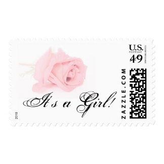 Pink Rose Baby Girl Postage Stamp