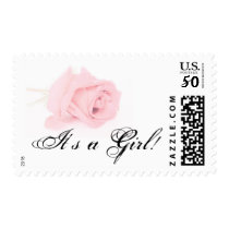Pink Rose Baby Girl Postage Stamp