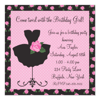 Pink Rose Ballerina Birthday Party Card