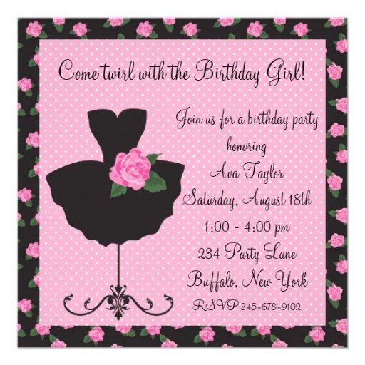 Pink Rose Ballerina Birthday Party 5.25x5.25 Square Paper Invitation ...