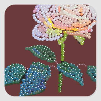 pink rose Bedazzled Square Sticker
