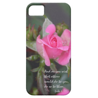 Pink Rose, Bible Verse about Friendship, Luke 6:31 iPhone SE/5/5s Case