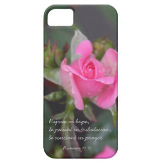 Pink Rose Bible Verse about Hope Romans 12 12 iPhone 5 Case