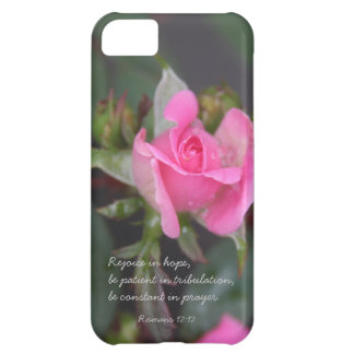 Pink Rose Bible Verse about Hope Romans 12 12 iPhone 5C Covers