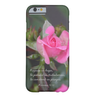 Pink Rose Bible Verse about Hope Romans 12 iPhone 6 Case