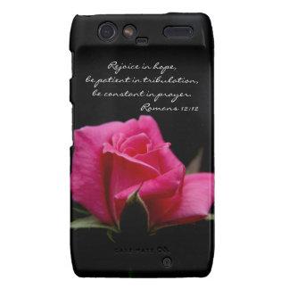 Pink Rose Bible Verse Hope Prayer Romans 12 12 Motorola Droid RAZR Cover