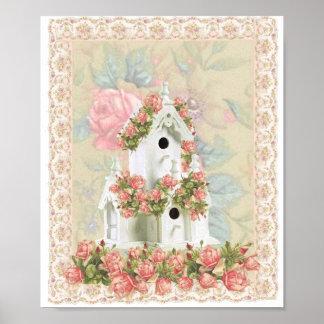 Pink Rose Birdhouse Canvas Print
