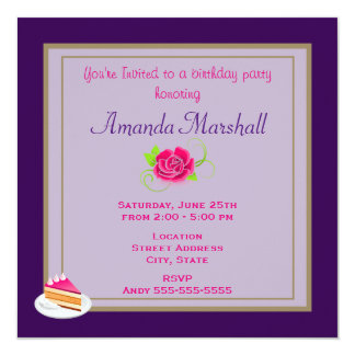 Pink Rose Birthday Party Card