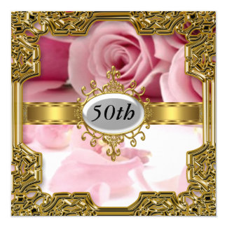 Pink Rose Birthday Party Glamour Hot Invitation