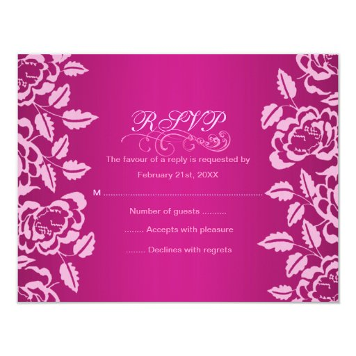 Pink Rose Birthday RSVP Card Personalized Announcements