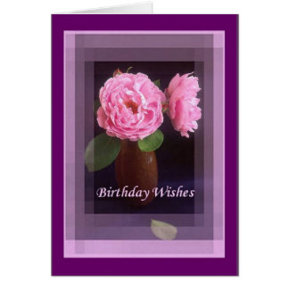 Pink Rose - Birthday Wishes Card