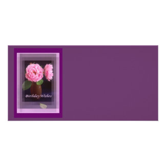 Pink Rose Birthday Wishes Customized Photo Card