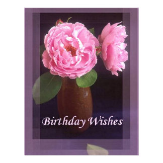 Pink Rose - Birthday Wishes Letterhead