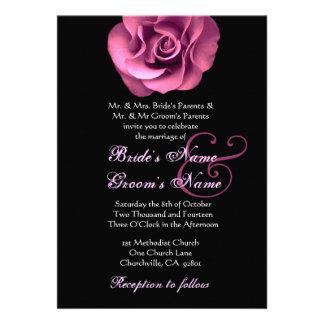 Pink Rose Black Background Wedding Invitation