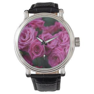 Pink Rose Black Leather Watch Flower Garden Floral