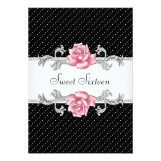 Pink Rose Black Polka Dot Sweet Sixteen Birthday Custom Invitation
