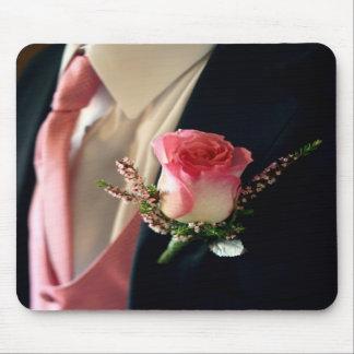 Pink rose black tuxedo tux mousepad bulk discount